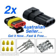 2 x 3 Pin Waterproof Automotive/Marine Electrical Sealed Wire Connector 12v