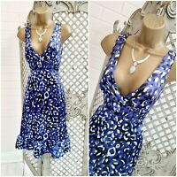 LOVE LABEL  UK 10 Blue Satin Animal Leopard Print Fit & Flare Retro Dress