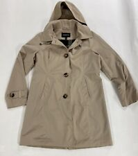 London Fog Women's Medium Khaki Hooded Trench Coat A Line Style Button Front