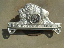 Neat 1953 Buffalo MANITOBA MOTOR LEAGUE License Plate Topper,  CAA Canada