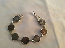 Sterling Silver 1796-1933 Panama Pacific Lady Liberty Coin Panel Link Bracelet