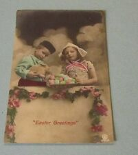 1908 Easter Holiday RPPC Real Photo Postcard with Live Rabbit Eggs and Children