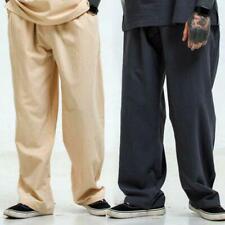 Mens Linen Loose Straight Leg pants Drawstring Casual Slacks Trousers Retro New