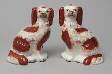 Due Antico Staffordshire Pottery Fireside MANTEL Spaniel Cani c1870