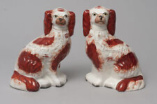 Dos antiguo Staffordshire Cerámica Fireside Mantel Spaniel Perros c1870