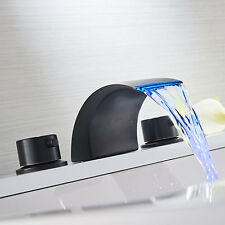 Widespread Bathroom Basin Faucet Oil Rubbed Bronze LED Waterfall Sink Mixer Tap