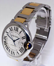 Cartier Ballon Bleu 42mm 18k Yellow Gold & Steel Mens Automatic Watch 3001