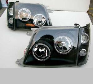 LED Black Headlights For Toyota LAND CRUISER PRADO LC 90 Headlamp L+R 1996-2002
