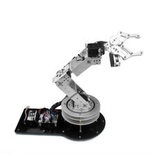 New Silver 6 DOF Robot Arm Clamp Claw Kit Rotating Base Servo Controller Handle