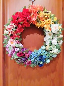 Rainbow door wreath, Summer/Fall wreath, Rainbow flower wreath