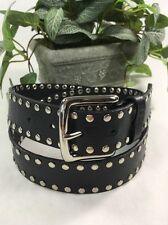 """Guess XL (34-37) Black Leather Men's Belt, w/Rivets, Silver Buckle, 1 1/2""""W,"""