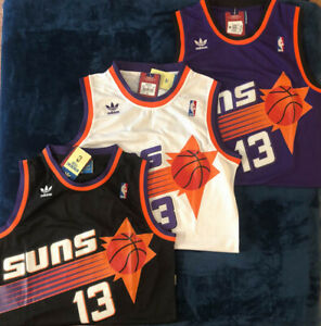 Phoenix Suns #13 Steve Nash Men's Throwback Swingman Black/Purple/White Jersey