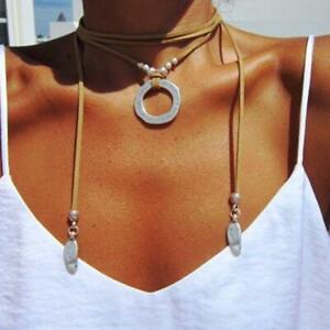 Sundance Catalog style Leather Silver Wrap Necklace Choker Statement Piece bead