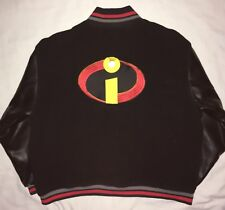 THE INCREDIBLES LETTERMAN VARSITY JACKET BY DISNEY PIXAR XL BLACK W FAUX LEATHER