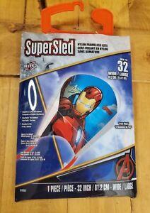 Marvel SuperSled IRON MAN Nylon Frameless Kite Handle & Line Included Ships Free