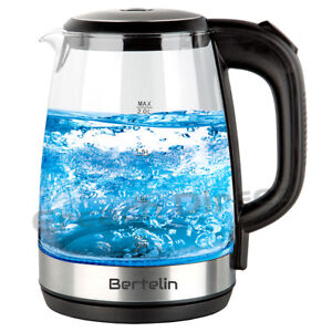 Bertelin Blue LED Illuminated Glass Kettle 360 Cordless Electric 2.0L 2200W