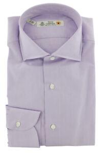 $600 Luigi Borrelli Lavender Purple Dress Shirt - Extra Slim - (8P)