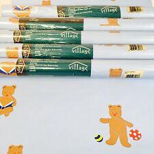 Village Wallpaper Kid Room Nursery Teddy Bear Blue Prepasted Vinyl lot 5 Double