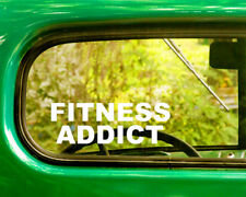 2 FITNESS ADDICT DECAL Stickers For Car Window Bumper Laptop Jeep Truck Rv