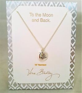 VERA BRADLEY TO THE MOON AND BACK SILVER TONE CHARM NECKLACE 16""
