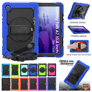 For Samsung Galaxy Tab A7 10.4 in T500 Shockproof Rotate Strap Case Screen Cover