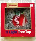 Vintage WOOLWORTH'S TreeTop 11 Light Christmas Silver Tinsel Wreath NIB Excellen