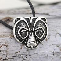 Bear Head Amulet Pendant Necklace Norse Viking Necklace Talisman Jewelry LJ