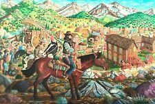 western art print,miners,gold, richard cheney,old montana,mining town,goldstrike