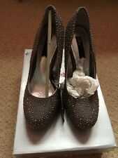 Bnwb Bling ***Silver Sparkle Heeled Stiletto Shoes Size 4/37