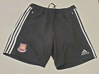 T304 MENS ADIDAS WEST HAM UTD BLACK WHITE FOOTBALL SHORTS UK L W34