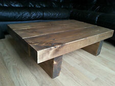 Chunky Rustic Reclaimed Style Coffee Table Handmade Solid Wood Medium Oak