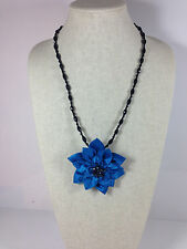 Fabric Floral Pendant Necklace Brooch Blue Adjustable Crystal Dahlia Satin New