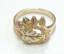 BLACK HILLS GOLD RING 10K YELLOW GOLD SIZE 6  FOUR SMALL LEAVES PINK GOLD LOVELY
