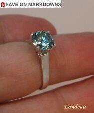Diamond Silver Ring 1.78 ct Light Blue