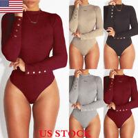 US Women Long Sleeve Bodysuit Stretch Ladies Leotard Body Tops T shirt Jumpsuit