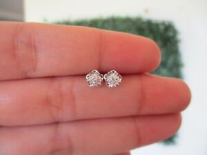 .05 CTW Diamond Earrings 18k White Gold E209 sep