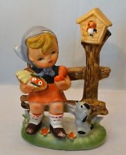 Hummel Style Figurine Child with Fruit Basket on Bench with Puppy & Birdhouse