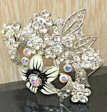Large fashion silver bridal party floral brooch with crystal rhinestones