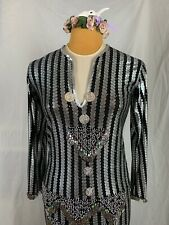 Egyptian Gypsy Silver And Black Dangling Coin Belly Dance Dress Costume
