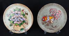 2 assiettes anciennes céramique moderne signées vallauris coq et bouquet fleurs
