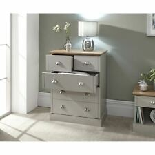 Kendal Grey Chest of 5 Drawers Oak-Effect Top 2+3 Bedroom Drawers Seconds