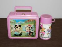 VINTAGE ALADDIN WALT DISNEY MINNIE MICKEY MOUSE PLASTIC LUNCHBOX & THERMOS