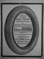 PUBLICITÉ 1913 PROTECTEUR DURANDAL SANS PANNE DE PNEUMATIQUE - ADVERTISING