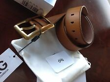 """AUTHENTIC D&G BY DOLCE & GABBANA LEATHER BROWN BELT WOMEN SZ-85cm/33.5"""" NWT"""