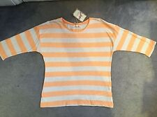 M&S COTTON & LINEN TOP IN ORANGE & OATMEAL STRIPE WITH 3/4 SLEEVE - ANGEL-BNWT