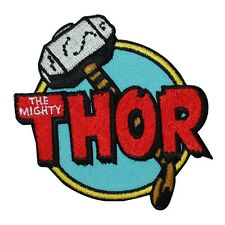 "Retro Marvel ""The Mighty Thor"" Hammer Iron-On Patch Comic Fan Apparel Applique"
