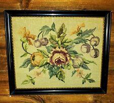 """Vintage Framed HANDMADE Framed NEEDLEPOINT Floral Art Work 21"""" x 17 1/2"""" Germany"""