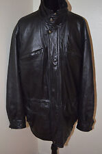 Vintage Baracuta Black Leather Jacket Coat Lined Multiple Pockets Size Large