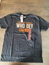NWT Mens NFL Cincinnati Bengals Who Dey T-Shirt XL X-Large Black Short Sleeve