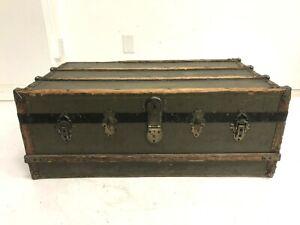 Vintage WOOD STEAMER TRUNK chest coffee table storage box antique wooden sticker